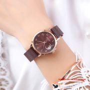 Đồng hồ Julius nữ JA1146 dây thép nâu