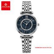 Đồng hồ nữ Julius JA1194A dây thép bạc mặt đen