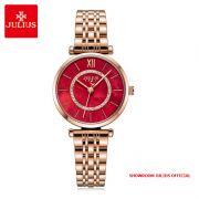 Đồng hồ nữ Julius JA1194D dây thép vàng đồng mặt đỏ - Size 32