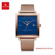 Đồng hồ nữ Julius JA1207C dây thép vàng đồng mặt xanh