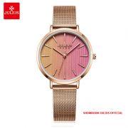 Đồng hồ nữ Julius JA1198C dây thép vàng đồng mặt nhiều màu - Size 32