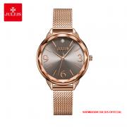 Đồng hồ nữ Julius JA1210 dây thép vàng đồng mặt xám