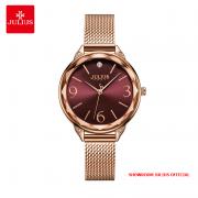 Đồng hồ nữ Julius JA1210 dây thép vàng đồng mặt đỏ