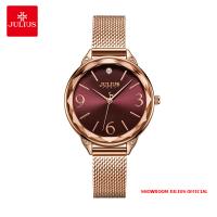 Đồng hồ nữ Julius JA1210 dây thép vàng đồng mặt đỏ - Size 30