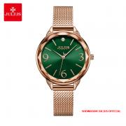 Đồng hồ nữ Julius JA1210 dây thép vàng đồng mặt xanh  - Size 30