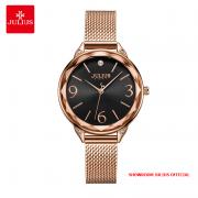 Đồng hồ nữ Julius JA1210 dây thép vàng đồng mặt đen
