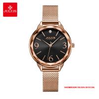 Đồng hồ nữ Julius JA1210 dây thép vàng đồng mặt đen - Size 30