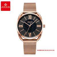 Đồng hồ nữ Julius JA1184 dây thép vàng đồng mặt đen - Size 32