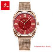 Đồng hồ nữ Julius JA1184 dây thép vàng đồng mặt đỏ - Size 32