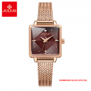 Đồng hồ nữ Julius JA1220 dây thép vàng đồng mặt đỏ - Size 24