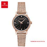 Đồng hồ nữ Julius JA1219 dây thép vàng đồng mặt đen