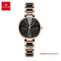 Đồng hồ nữ Julius JA1209 dây thép mặt đen