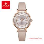 Đồng hồ nữ Julius JA1203 dây da hồng kem