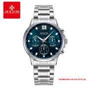 Đồng hồ nam Julius JAH113 dây thép 6 kim mặt xanh
