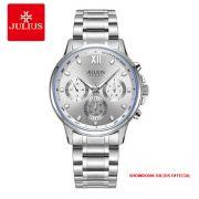 Đồng hồ nam Julius JAH113 dây thép trắng bạc 6 kim - Size 40