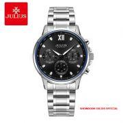 Đồng hồ nam Julius JAH113 dây thép 6 kim mặt đen - Size 40