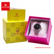 Đồng hồ nữ Julius JA1205 dây thép mặt đen - Size 30