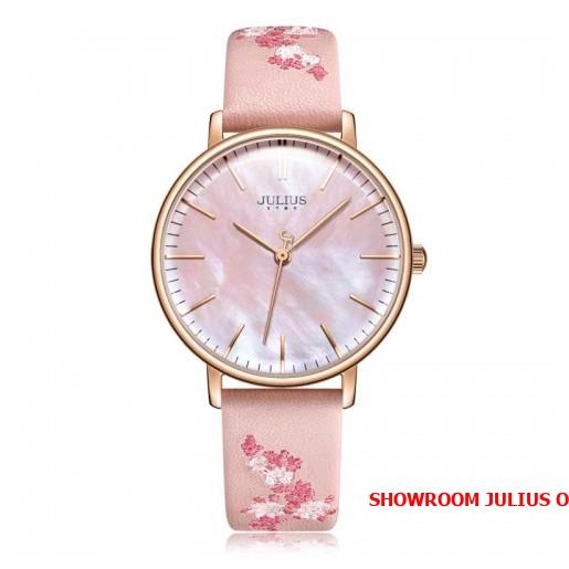 Đồng hồ nữ Julius Star JS017 dây da hồng