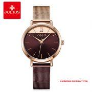 Đồng hồ nữ Julius JA-1237B dây thép đồng nâu