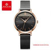 Đồng hồ nữ Julius JA-1237D dây thép xám đen - Size 32