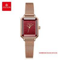 Đồng hồ nữ Julius JA-1223 dây thép vàng đồng mặt đỏ