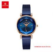 Đồng hồ nữ Julius JA-1214 dây thép xanh - - Size 28