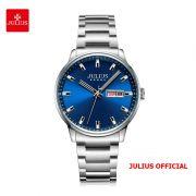 Đồng hồ nam Julius JAH-114 dây thép bạc mặt xanh - Size 40