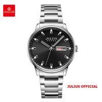 Đồng hồ nam Julius JAH-114 dây thép bạc mặt  đen - Size 40