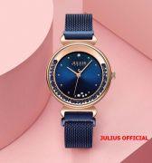 Đồng hồ nữ Julius JA-1224C dây thép xanh khóa nam châm - Size 32