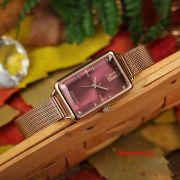 Đồng hồ nữ Julius JA1215 dây thép vàng đồng mặt đỏ