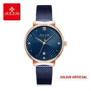 Đồng hồ nữ Julius JA-1243 dây thép xanh - Size 32