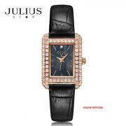 Đồng hồ nữ Julius Star JS-046 dây da đen kính Sapphie - Size 25