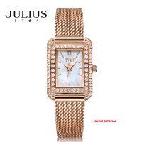 Đồng hồ nữ Julius Star JS-046 dây thép vàng đồng kính Sapphie - Size 25