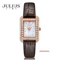 Đồng hồ nữ Julius Star JS-046 dây da nâu kính Sapphie - Size 25