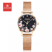 Đồng hồ nữ Julius JA-1164 dây thép vàng đồng họa tiết hoa - Size 28