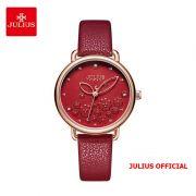 Đồng hồ nữ Julius JA-1239 dây da đỏ - Size 34