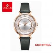 Đồng hồ nữ Julius JA-1203 dây da xanh rêu - Size 34