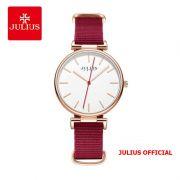 Đồng hồ nữ Julius JA-1245 dây vải hồng đỏ - Size 34