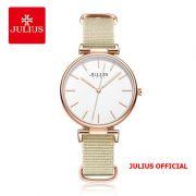 Đồng hồ nữ Julius JA-1245 dây vải kem - Size 34