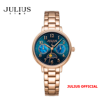 Đồng hồ nữ Julius Star JS-047 dây thép vàng đồng mặt xanh kính Sapphie - Size 24