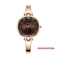 Đồng hồ nữ Julius JA-1228 dây dây thép vàng đồng mặt nâu - Size 30