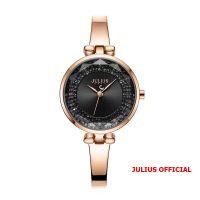 Đồng hồ nữ Julius JA-1228 dây dây thép vàng đồng mặt đen - Size 30