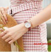 Đồng hồ nữ JULIUS JA-1254 dây da đỏ - Size 32