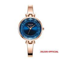 Đồng hồ nữ Julius JA-1228 dây dây thép vàng đồng mặt xanh - Size 30