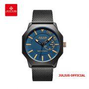 Đồng hồ nam Julius JAH-126 dây thép đen  - Size 40