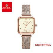 Đồng hồ nữ Julius JA-1264 dây thép vàng đồng sọc trắng
