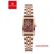 Đồng hồ nữ Julius JA-1252 dây thép vàng đồng mặt đỏ