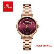 Đồng hồ nữ Julius JA-1248 dây thép mặt đỏ - size 33