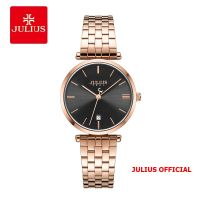 Đồng hồ nữ JULIUS JA-1260 dây thép vàng đồng mặt đen - Size 30