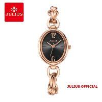 Đồng hồ nữ Julius JA-1258 dây thép vàng đồng mặt đen - Size 22